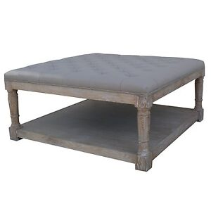 French montebello buttoned linen weathered oak ottoman footstool coffee table ebay Linen ottoman coffee table