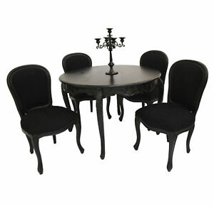 French-Style-Furniture-Black-Dining-Room-Table-and-4-Chairs-Designer ...