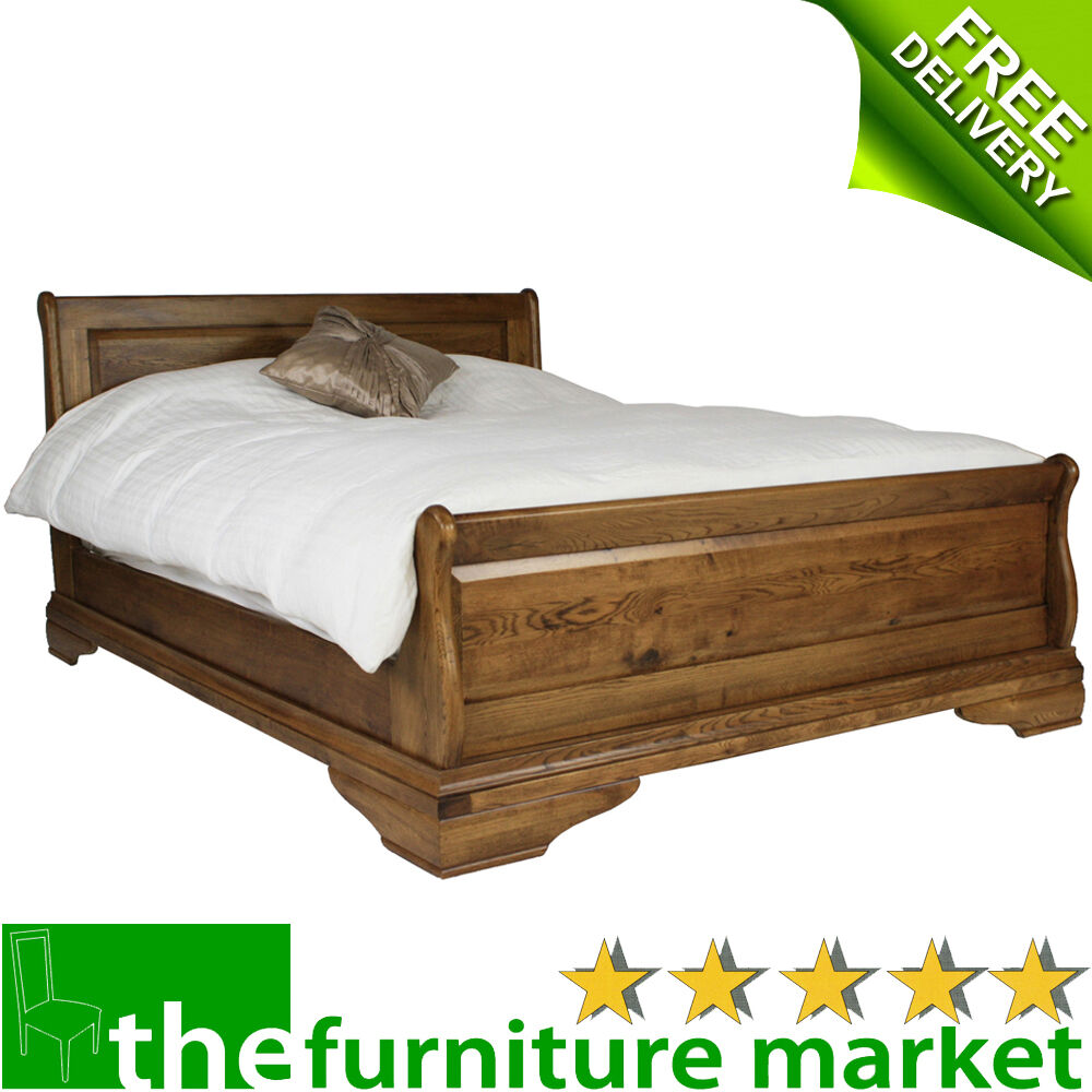 French Style Oak 6ft Super King Size Sleigh Bed Rustic Bedroom Furniture FS06
