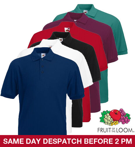 Fruit of The Loom Mens Polo T SHIRT ALL SIZES