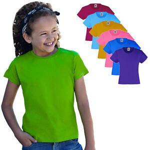 Fruit-of-the-Loom-Maedchen-T-Shirt-Kinder-in-verschiedenen-Farben-und-Groessen