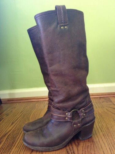 Frye Women's Carmen Harness Tall Boots in Dark Brown Leather Sz 8 in Clothing, Shoes & Accessories, Women's Shoes, Boots | eBay