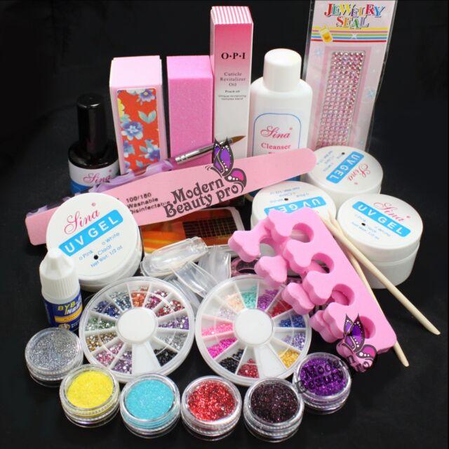 Pro Glitter Powder Glue File Nail Art Top Coat Uv Gel Nail Tips Decorations Set