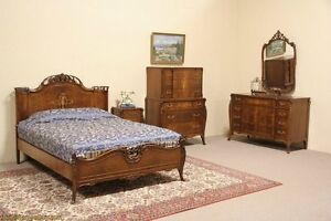 Full Size 4 PC Bedroom Set Walnut Marquetry Vintage Singed Joerns EBay
