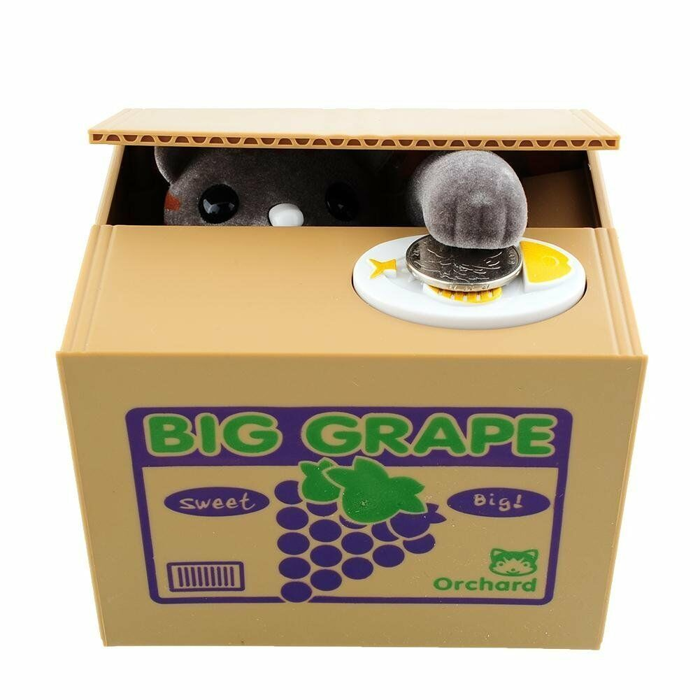 Funny cat stealing coin to grapes money box kitty bank for Home money box
