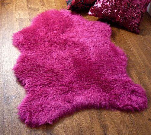 Fuschia Hot Pink Faux Fur Sheepskin Style Rug 70 X 100cm