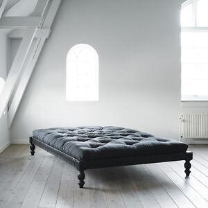 futonbett rock o kiefer massiv schwarz lackiert inkl stecklatten 140x200 cm ebay. Black Bedroom Furniture Sets. Home Design Ideas