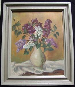 g weber 1943 blumen flieder stillleben in einer vase tischtuch ebay. Black Bedroom Furniture Sets. Home Design Ideas