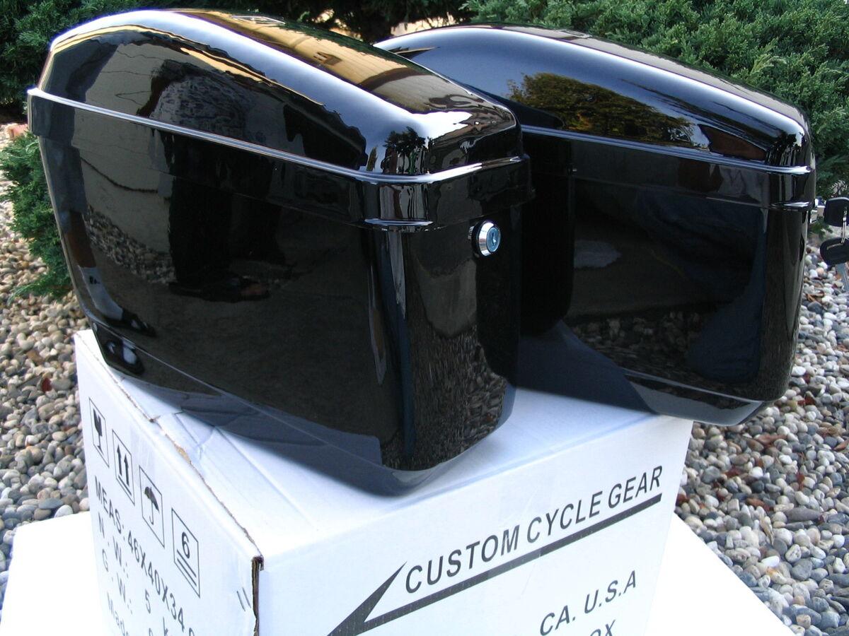 GA Harley Davidson Sportster Softail Dyna Hard Saddle Bags Saddl w Bracket