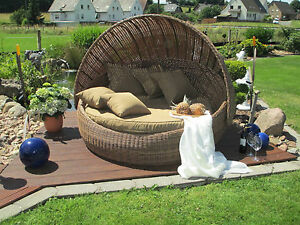 gartenliege sonneninsel rund rattan gartenlounge liegeinsel festes dach ebay. Black Bedroom Furniture Sets. Home Design Ideas