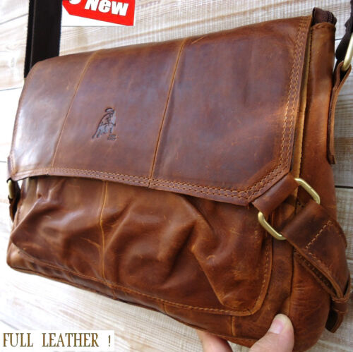 GENUINE Leather HAND Bag iPad mini woman man cross body 2 3 retro laptop A4 new in Computers/Tablets & Networking, Laptop & Desktop Accessories, Laptop Cases & Bags | eBay