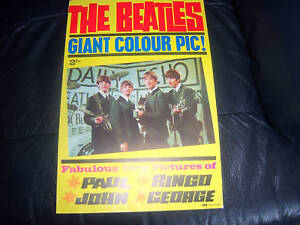 GENUINE-The-Beatles-EARLY-GIANT-POSTER-PYX-ORIGINAL-1964-AWESOME-MINT-CONDITION