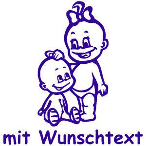 GESCHWISTERAUFKLEBER-Babyaufkleber-Aufkleber-Autoaufkleber-Wunschtext-G5-MJ
