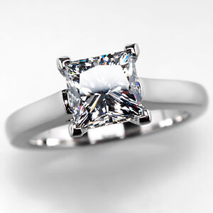 GIA-2-Carat-Diamond-Princess-Cut-Engagement-Ring-Solitaire-Solid ...