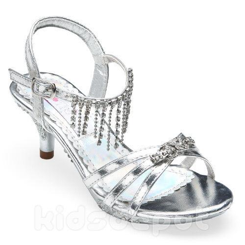 Girls Fancy Rhinestone Kids Dress Shoes Pageant Flower Formal Wedding Silver