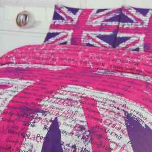 Girls graphic pink purple white union jack single duvet for Pink union jack bedding