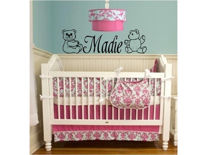 GIRLS NAME & TEDDY BEARS Room Baby Nursery Wall Decal