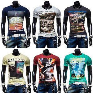 GLO-STORY-T-Shirt-Kurzarm-Shirt-Motiv-Herren-Freizeit-Basic-Hemd-3C3-Aufdruck