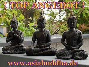 GOLD-Thai-Buddha-Budda-3-Mudra-Statue-Feng-Shui-sitzend-braun-s-Neu-ca-13-5-cm