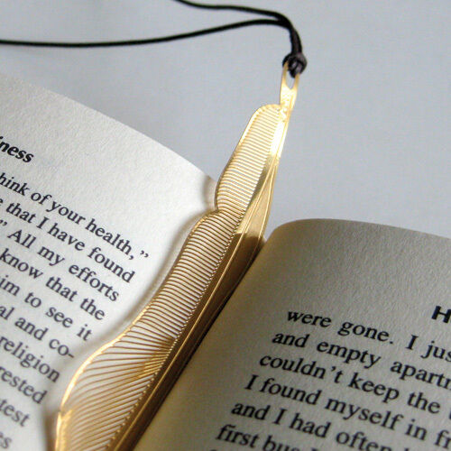 GOLDEN FEATHER 18kgold plated BOOKMARK leather strap korean fashion book item in Books, Accessories, Bookmarks | eBay