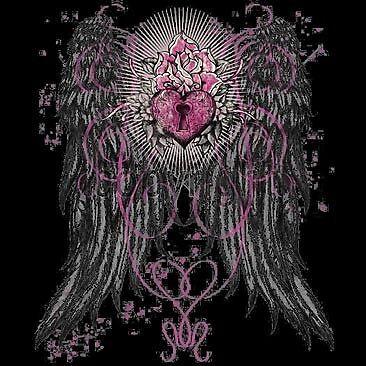 Gothic Heart Lock Angel Wings Ladies Longsleeve Biker$15 Bonus Harley