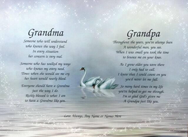 Grandma Grandpa Personalized Grandparent Poems Anniversary or Christmas Gift