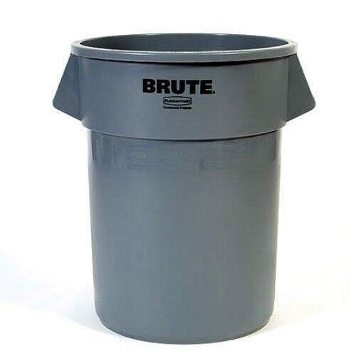 gray rubbermaid industrial commercial brute trash can garbage bin