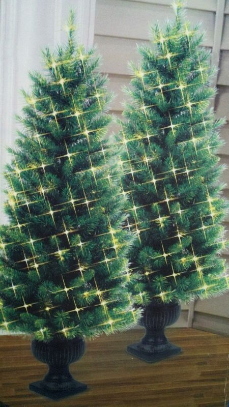 Lit Cambridge Pine Artificial Christmas Trees Topiary 4 New