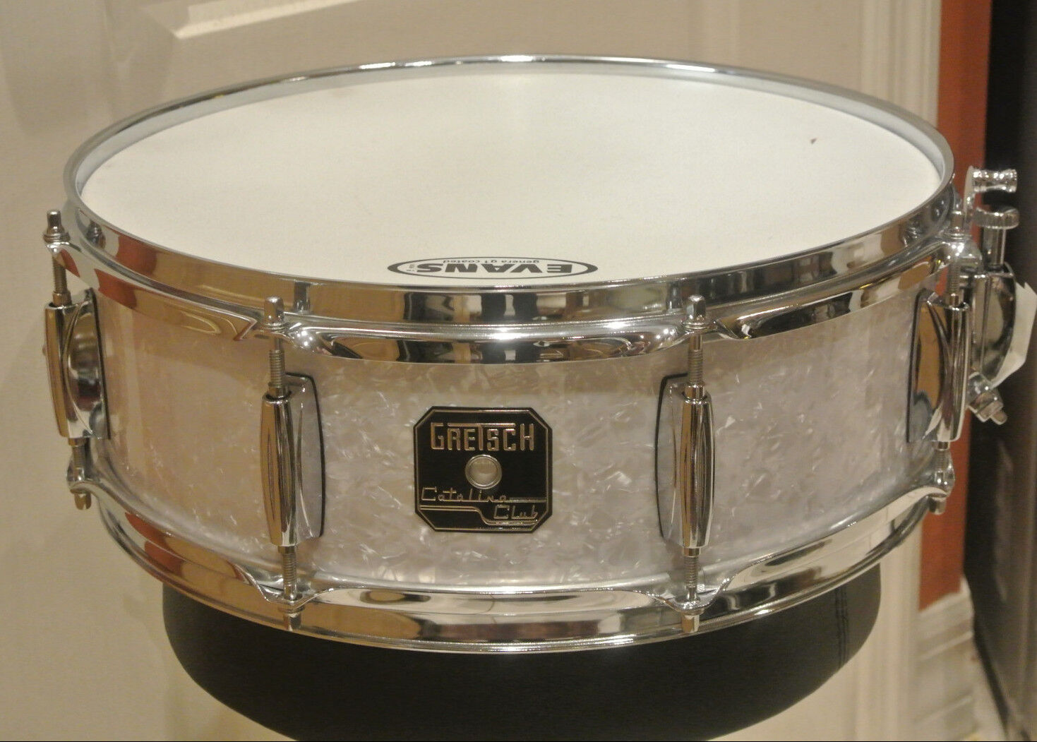 gretsch catalina club 14 snare drum in white pearl for drum set lot g168 ebay. Black Bedroom Furniture Sets. Home Design Ideas