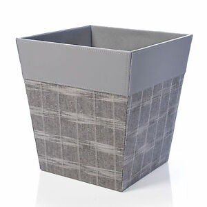 GREY CHECK FAUX LEATHER STRONG SQUARE WASTE PAPER RUBBISH