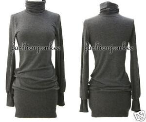 Long Sleeve Mini Dress on Grey Knit Turtleneck Sweater Mini Dress Long Sleeve Sexy Tunic Top New