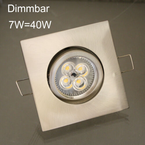 5 x power led deckenspots einbaustrahler downlight set 4 eckig dimmbar 7w 4w ebay. Black Bedroom Furniture Sets. Home Design Ideas