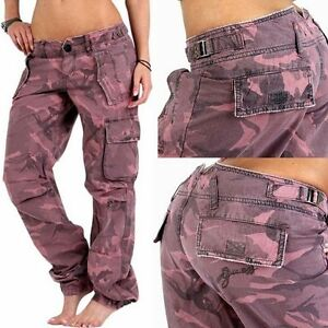 guess damen cargo camouflage army hose jeans pants 28 pink. Black Bedroom Furniture Sets. Home Design Ideas