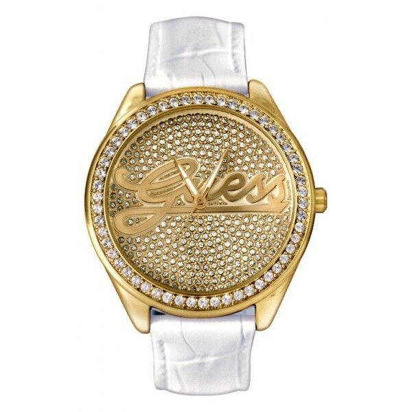 GUESS WATCH WHITE LEATHER & GOLD+CRYSTALS U75033L5 NEW