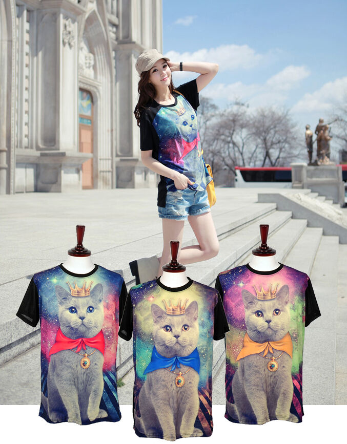 Galaxy Cat stellar short sleeve t-shirts for wonems casual top t Red Blue yellow