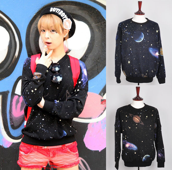 Galaxy space graphic t shirts womens loose fit print long sleeve top Navy Black