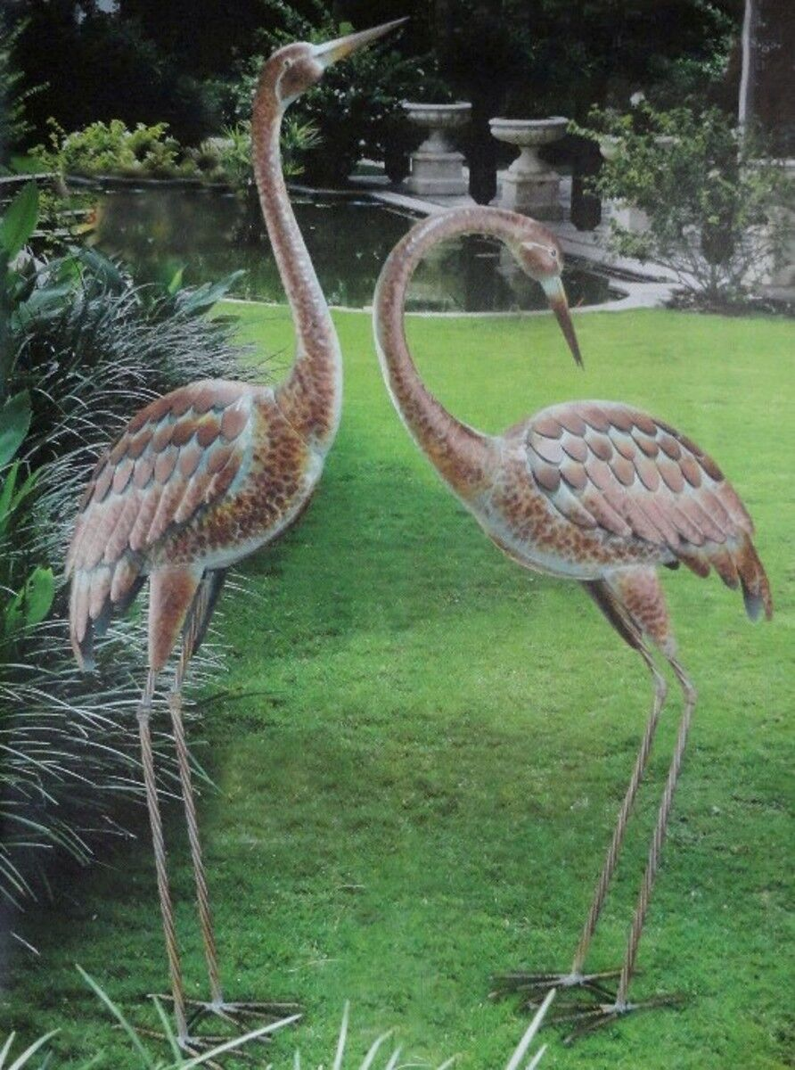 Garden Crane Pair Statues Heron Bird Sculpture Metal Outdoor Patio