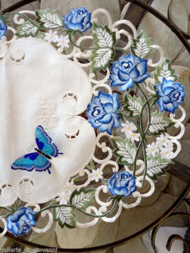 """Garden  Rose LaceTable Runner  54"""" Flower Doily Blue Flower Floral"""
