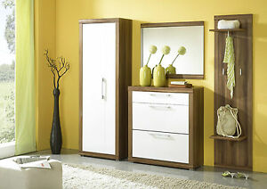 garderobe xxl set dielenm bel flur schuhschrank spiegel garderobenpaneel walnuss ebay. Black Bedroom Furniture Sets. Home Design Ideas