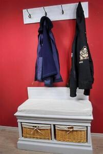 garderobe mit sitzbank antik wei sitzbank ii landhaus ebay. Black Bedroom Furniture Sets. Home Design Ideas