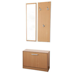 garderoben set 3 teilig pisa buche garderobe flurgarderobe schuhschrank ebay. Black Bedroom Furniture Sets. Home Design Ideas