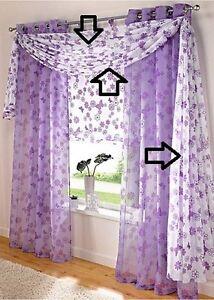 gardinen freihandbogen lila wei 1 x 140 600cm 223 935423 5 ebay. Black Bedroom Furniture Sets. Home Design Ideas