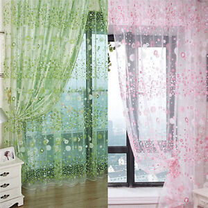 gardinen organza voile schlaufenschal gardinenschal dekoschal blumen drei farben ebay. Black Bedroom Furniture Sets. Home Design Ideas