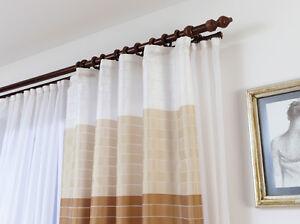 gardinenstange vorhangstange stilgarnitur holz vorhang gardinen l nge 120 280 cm ebay. Black Bedroom Furniture Sets. Home Design Ideas