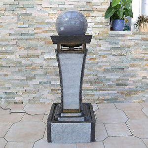gartenbrunnen zimmerbrunnen f r balkon terrasse garten brunnen mit kugel marmor ebay. Black Bedroom Furniture Sets. Home Design Ideas