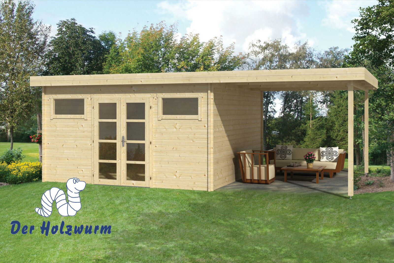 40 mm gartenhaus blockhaus 690x420cm holzhaus unterstand holz anbau sitzecke ebay. Black Bedroom Furniture Sets. Home Design Ideas