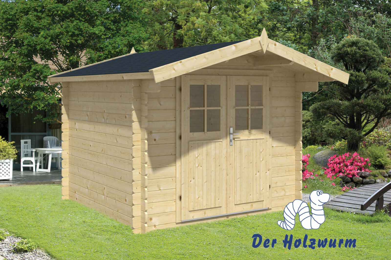 gartenhaus gitte blockhaus 260x260 cm ger tehaus holzhaus 28 mm holz schuppen ebay. Black Bedroom Furniture Sets. Home Design Ideas