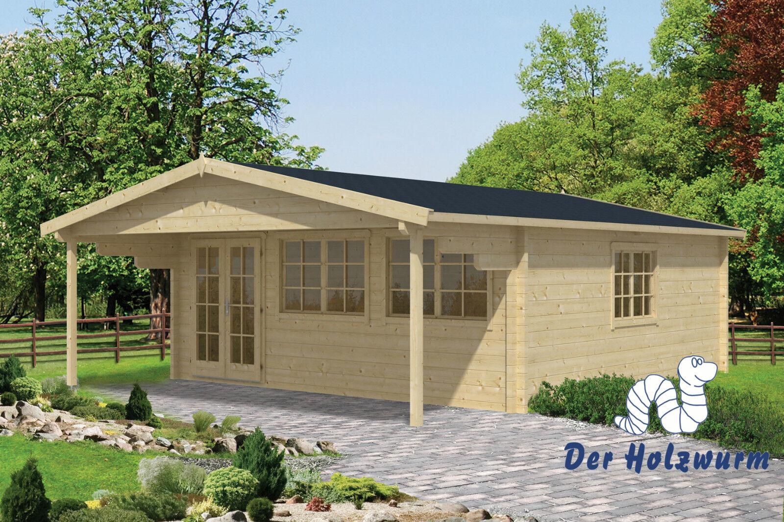 gartenhaus rune mit dachunterstand blockhaus 595x795cm holzhaus 70 mm holz neu ebay. Black Bedroom Furniture Sets. Home Design Ideas