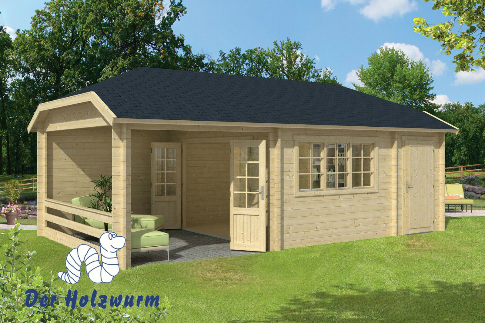 gartenhaus viveka blockhaus 750x420cm holzhaus 45mm anbauschuppen terrasse holz ebay. Black Bedroom Furniture Sets. Home Design Ideas