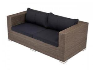 gartensofa grau zweiersofa 2er sofa polyrattan garten terasse couch zweisitzer ebay. Black Bedroom Furniture Sets. Home Design Ideas